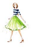 Aquarellmodeillustration, handgemalt Lizenzfreie Stockbilder