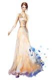 Aquarellmodeillustration, schönes junges Mädchen in einem langen Kleid Ein Fragment der Hochzeitsordnung Stockfoto