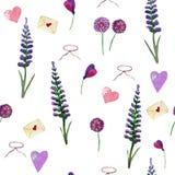 Aquarellmuster des Lavendels, der Wildflowers und der Herzen auf einem wei?en Hintergrund vektor abbildung
