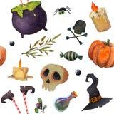 Aquarellmuster furchtsamer Elemente Halloweens nahtloses Stockbild