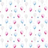 Aquarellmuster mit baloon und Anfänge für Juli 4., vereinigt angegebener Unabhängigkeitstag Design für Druck, Karte stock abbildung