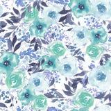 Aquarellmuster mit blauen abstrakten Blumen lizenzfreie abbildung