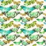 Aquarellmuster mit dem Bild von transparenten Schmetterlingen in den blauen, grünen und ocherous Farben auf einem beige Hintergru Stockfotos