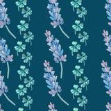 Aquarellmuster mit Lavendel Lavendel- und Kleemuster Vier Blatt-Klee shamrock Stockfoto