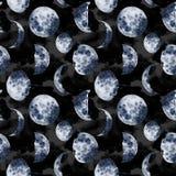 Aquarellmuster mit Mondphasen Handgemalte verschiedene Phasen auf Galaxiehintergrund Handgezogener moderner Raumentwurf stockbild