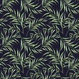 Aquarellmuster mit Palmeblättern Handgemaltes exotisches Grün verzweigen sich lokalisiert auf dunkelblauem Hintergrund Stockbilder