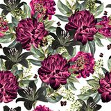 Aquarellmuster mit Pfingstrosenblumen und -lilie Stockbilder