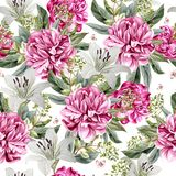 Aquarellmuster mit Pfingstrosenblumen und -lilie Stockfotos