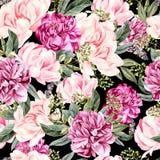 Aquarellmuster mit Pfingstrosenblumen und -schmetterling Stockbild