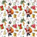 Aquarellmuster mit traditionellem Dekor Santa Clauss und des Weihnachten Handgemaltes giftbox mit Bogen, Süßigkeit, Glocken lizenzfreie abbildung