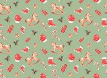 Aquarellmuster mit Weihnachten spielt auf einem farbigen Hintergrund stock abbildung