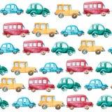 Aquarellmuster von verschiedenen Autos Stockbilder