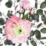 Aquarellnahtloses Blumenmuster Blühen Sie empfindliches Muster von Blumen Eustoma, Lysianthus lizenzfreie abbildung