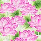 Aquarellnahtloses Blumenmuster mit Lotos vektor abbildung