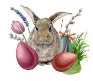 AquarellOsterhase Handgemalte Karte mit farbigen Eiern, Häschen, Lavendel, Tulpe, Weide, Gras und Baumast lizenzfreie abbildung