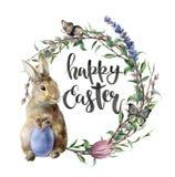 Aquarellostern-Karte mit Häschen, Schmetterling und Beschriftung Handgemalte Grenze mit Ei, Lavendel, Weide, Tulpe, Baum vektor abbildung