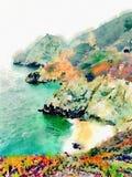 Aquarellozean-Küstenlandschaft mit Wasser und Bergen Stockfotografie