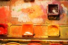 Aquarellpalettendetail Stockbild