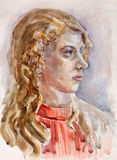Aquarellportrait eines Mädchens Lizenzfreie Stockbilder
