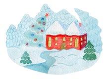 Aquarellpostkarten-Illustrationshaus mit Weihnachtsbaum auf weißem Hintergrund Gut für laden Sie, Aufkleber ein Lizenzfreie Stockbilder