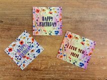 Aquarellpostkarten mit Mohnblumen - Postkarten bemuttern ` s Geschenk Stockbilder