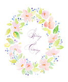 Aquarellrahmen mit reizenden rosa Blumen Stockbilder
