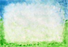 Aquarellrahmengras und -himmel mage Hintergrund-Reihe von der im Freien (Himmel und Gras) Stockbilder