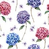 Aquarellrosa und nahtloses Muster der blauen Hortensie Handgemalte blaue, violette, rosa Blumen mit Blättern und Niederlassung lizenzfreie abbildung