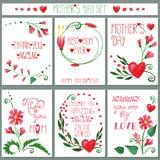 Aquarellrot blüht Kartensatz Sohn gibt der Mama eine Blume Stockfotos