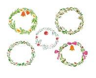 Aquarellsatz des Weihnachtskranzes Lizenzfreie Stockbilder