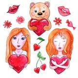 Aquarellsatz Elemente für Valentinsgruß ` s Tag lizenzfreie abbildung