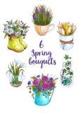 Aquarellsatz Frühlingsblumensträuße in den ursprünglichen Vasen lizenzfreie abbildung