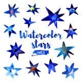 Aquarellsatz Sterne Stockfoto