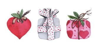 Aquarellsatz von drei Geschenkboxen stockfoto