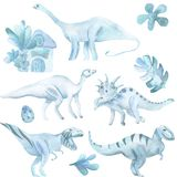 Aquarellsatz von großem, von Dinosauriern und von tropischen Anlagen stock abbildung