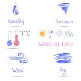 Aquarellsatz Wetterikonen vektor abbildung
