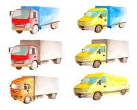 Aquarellsatzsammlung helle kommerzielle rote und gelbe Fahrzeuge im weißen Hintergrund lokalisiert stockbilder