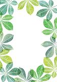 Aquarellschablone mit Baumblättern Stockbild