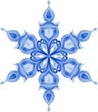 Aquarellschneeflocke auf weißem Hintergrund Stockfotos