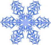 Aquarellschneeflocke auf weißem Hintergrund Stockfotografie
