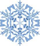 Aquarellschneeflocke auf weißem Hintergrund Lizenzfreie Stockfotografie