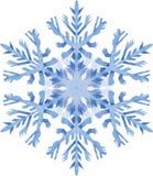 Aquarellschneeflocke auf weißem Hintergrund Stockbild