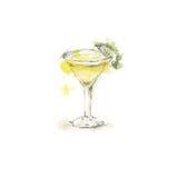 Aquarellskizze des Cocktails Stockfoto