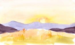 Aquarellsonnenuntergang oder -Sonnenaufgang in den Bergen Lizenzfreies Stockfoto