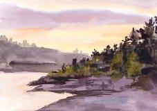 Aquarellsonnenuntergang oder -Sonnenaufgang in den Bergen Lizenzfreie Abbildung