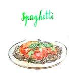 Aquarellspaghettis lizenzfreie abbildung