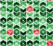 Aquarellsparren in den grünen und roten Farben auf weißem Hintergrund Abstraktes nahtloses Muster für Weihnachten und neues Jahr Stockbild