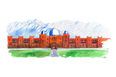 Aquarellstadtbild mit gezeichneter Aquarellillustration der Moschee Hand Stockfotos