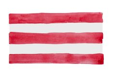 Aquarellstreifen-, Rote und weißeanschläge stockfotografie