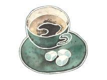 Aquarelltasse kaffee mit kleinen Eibischen stockfotografie